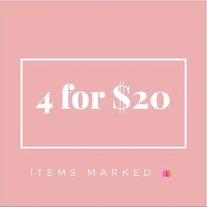 4 items marked with 🛍 for $20!